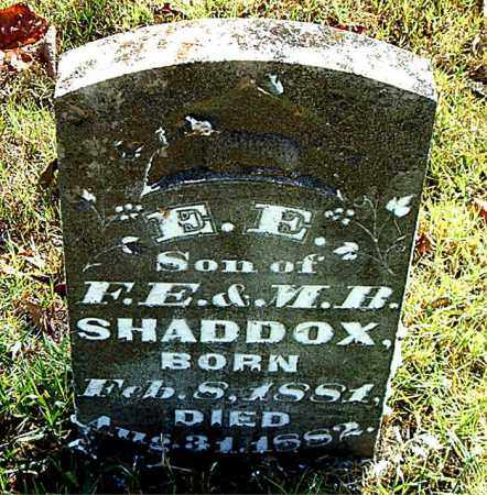 SHADDOX, E,  E, - Boone County, Arkansas | E,  E, SHADDOX - Arkansas Gravestone Photos