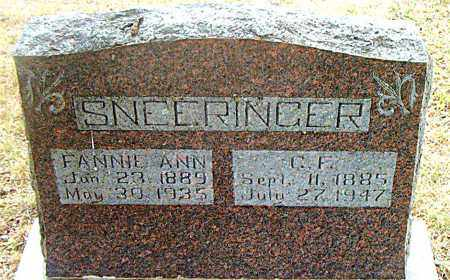 SNEERINGER, FANNIE ANN - Boone County, Arkansas | FANNIE ANN SNEERINGER - Arkansas Gravestone Photos