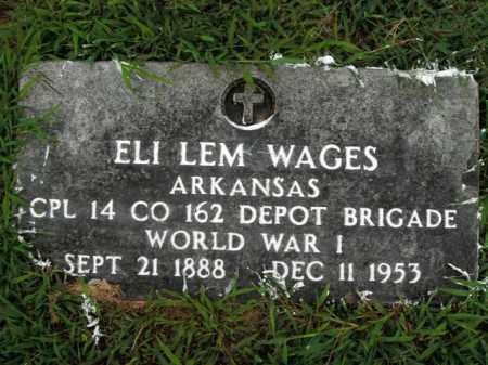WAGES  (VETERAN WWI), ELI LEM - Boone County, Arkansas | ELI LEM WAGES  (VETERAN WWI) - Arkansas Gravestone Photos