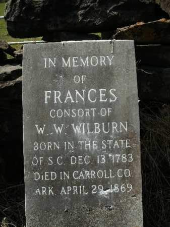 WILBURN, FRANCES - Boone County, Arkansas | FRANCES WILBURN - Arkansas Gravestone Photos