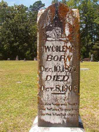 COLEMAN, T W - Calhoun County, Arkansas | T W COLEMAN - Arkansas Gravestone Photos