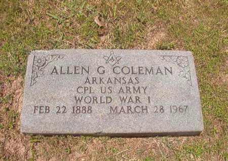 COLEMAN (VETERAN WWI), ALLEN G - Calhoun County, Arkansas | ALLEN G COLEMAN (VETERAN WWI) - Arkansas Gravestone Photos