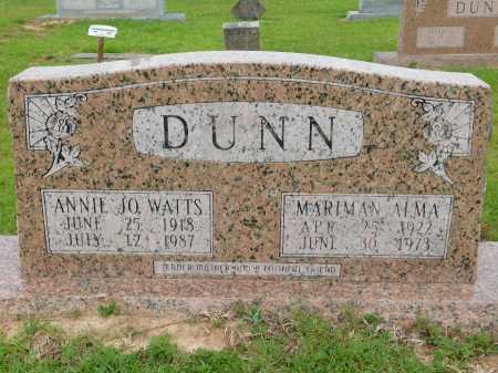 WATTS DUNN, ANNIE JO - Calhoun County, Arkansas | ANNIE JO WATTS DUNN - Arkansas Gravestone Photos