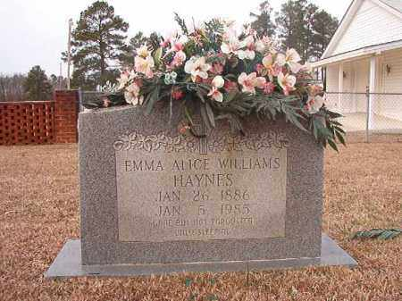 WILLIAMS HAYNES, EMMA ALICE - Calhoun County, Arkansas | EMMA ALICE WILLIAMS HAYNES - Arkansas Gravestone Photos