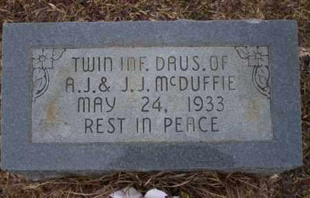 MCDUFFIE, INFANT TWIN DAUGHTER - Calhoun County, Arkansas   INFANT TWIN DAUGHTER MCDUFFIE - Arkansas Gravestone Photos