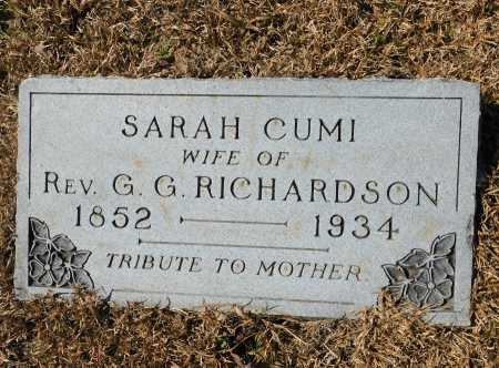 CUMI RICHARDSON, SARAH - Calhoun County, Arkansas | SARAH CUMI RICHARDSON - Arkansas Gravestone Photos