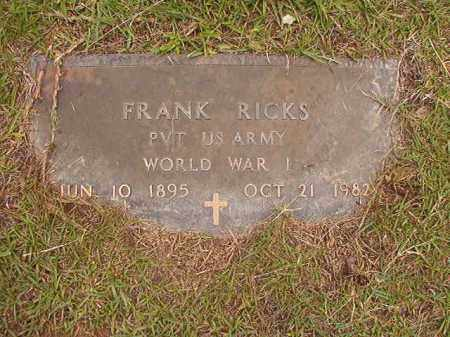 RICKS (VETERAN WWI), FRANK - Calhoun County, Arkansas | FRANK RICKS (VETERAN WWI) - Arkansas Gravestone Photos