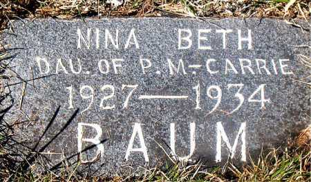 BAUM, NINA BETH - Carroll County, Arkansas | NINA BETH BAUM - Arkansas Gravestone Photos