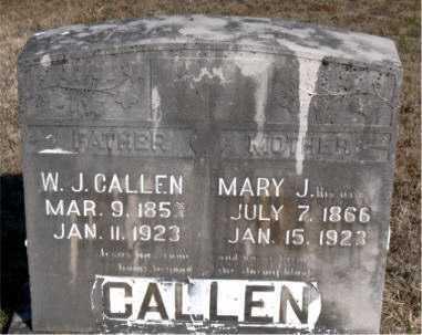 CALLEN, W. J. - Carroll County, Arkansas | W. J. CALLEN - Arkansas Gravestone Photos