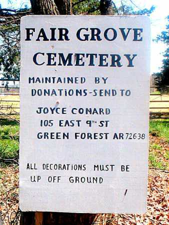 *FAIR GROVE CEMETERY SIGN,  - Carroll County, Arkansas |  *FAIR GROVE CEMETERY SIGN - Arkansas Gravestone Photos