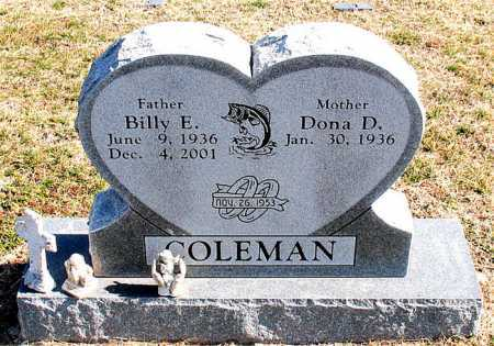 COLEMAN, BILLY E - Carroll County, Arkansas | BILLY E COLEMAN - Arkansas Gravestone Photos