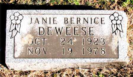 DEWEESE, JANIE BERNICE - Carroll County, Arkansas | JANIE BERNICE DEWEESE - Arkansas Gravestone Photos