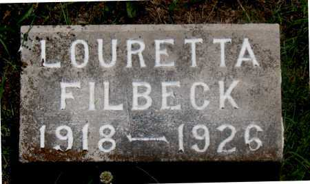 FILBECK, LOURETTA - Carroll County, Arkansas | LOURETTA FILBECK - Arkansas Gravestone Photos