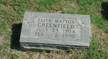 MATTOX GREENFIELD, ELITH - Carroll County, Arkansas | ELITH MATTOX GREENFIELD - Arkansas Gravestone Photos