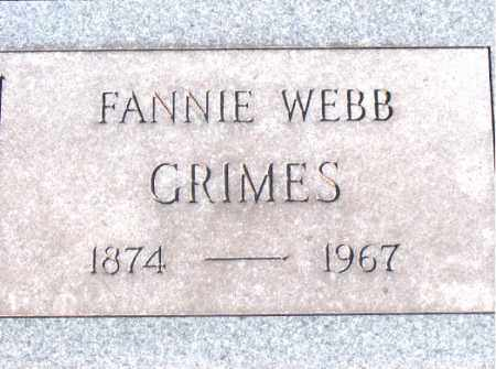 WEBB GRIMES, FANNIE - Carroll County, Arkansas | FANNIE WEBB GRIMES - Arkansas Gravestone Photos