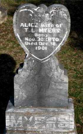 MYERS, ALICE - Carroll County, Arkansas | ALICE MYERS - Arkansas Gravestone Photos