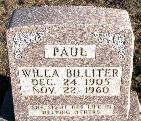 BILLITER PAUL, WILLA - Carroll County, Arkansas | WILLA BILLITER PAUL - Arkansas Gravestone Photos