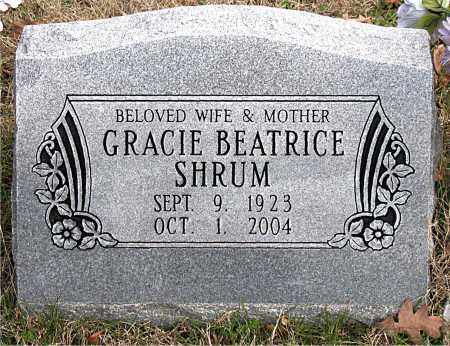 SHRUM, GRACIE  BEATRICE - Carroll County, Arkansas | GRACIE  BEATRICE SHRUM - Arkansas Gravestone Photos