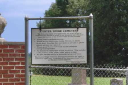 *CENTER RIDGE CEMETERY, SIGN - Clark County, Arkansas   SIGN *CENTER RIDGE CEMETERY - Arkansas Gravestone Photos