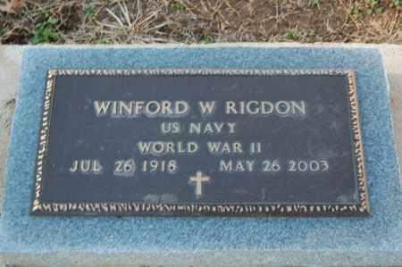 RIGDON (VETERAN WWII), WINFORD W - Clay County, Arkansas   WINFORD W RIGDON (VETERAN WWII) - Arkansas Gravestone Photos