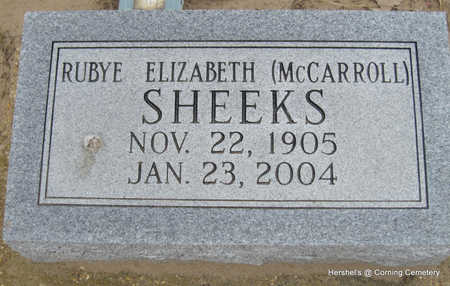 MCCARROLL SHEEKS, RUBYE ELIZABETH - Clay County, Arkansas | RUBYE ELIZABETH MCCARROLL SHEEKS - Arkansas Gravestone Photos