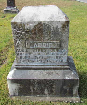 SYKES DUNLAP, ADDIE - Cleburne County, Arkansas | ADDIE SYKES DUNLAP - Arkansas Gravestone Photos